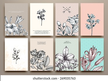 Vintage Floral Cards Set. Frame with Engraving Flowers. Botanical Illustration with Roses, Lilies and other Flowers. Retro Graphic Style.