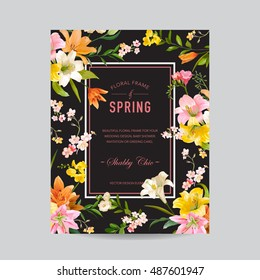 Vintage Floral Colorful Frame - Watercolor Lily Flowers - for Invitation, Wedding, Baby Shower Card - in vector