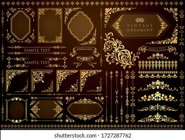 vintage floral design elements. decorative vector frames and borders.