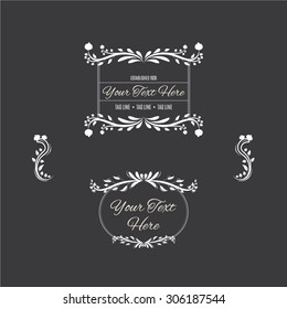 vintage floral design elements and frames