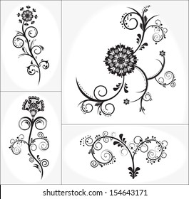 Vintage floral design vector set 2