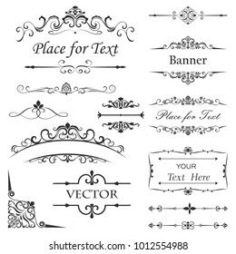 Vintage floral dividers vector set. Retro book separators. Antique design elements.