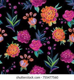 Vintage floral embroidery seamless pattern with marigold, rose, peony flowers and branches. Bright traditional illustration on black background for fabric design in watercolor style.
