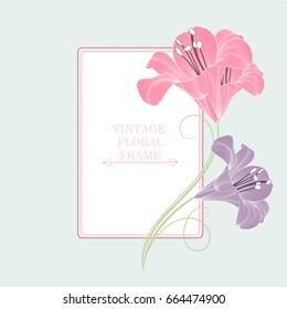 Vintage floral frame with lily flowers . Element for design.