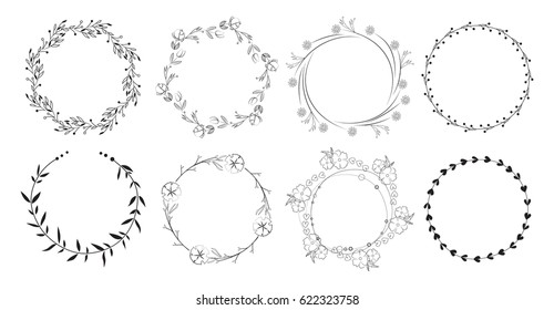 Vintage floral frames. Elements for decoration on white background. Round frames.