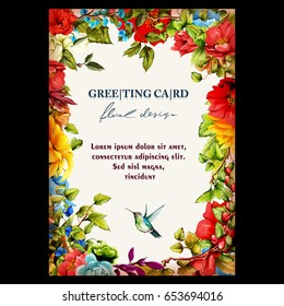 Vintage floral greeting card. Poppy, pomegranate buds, peony, sunflower and flying humming bird. Hand drawn. Vector.