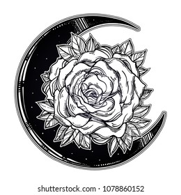 Vintage floral hand drawn crescent moon rose composition. Victorian Motif, tattoo flower design element. Nature concept art. Isolated vector illustration.