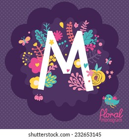 "Vintage floral hand drawn monogram made of flowers, butterflies and birds in vector. Letter ""M"" can be used for posters, cards, invitations, blogs, websites, backgrounds and any other stylish designs"