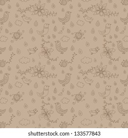 Vintage floral  hand drawn seamless pattern with birds