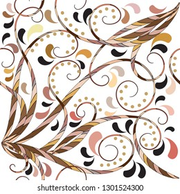 Vintage floral hand drawn vector seamless pattern. Elegance line art tracery striped lines, swirls, paisley flowers, leaves, dots. Beautiful ethnic style flourish ornament on the white background.