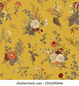 Vintage floral illustration. Seamless pattern. Autumn floral pattern. Warm