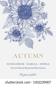Vintage floral illustration. Wedding invitation. Autumn. Sunflower, Dahlia and Zinnia. Blue and white