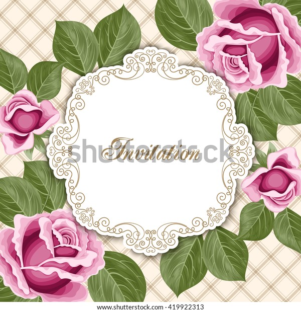 Vintage Floral Invitation Template Hand Drawn Stock Vector ...