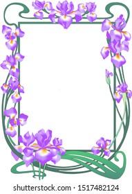vintage floral iris foto frame vector