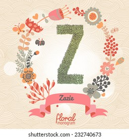 Vintage floral monogram made of green leafs and bright flowers in vector. Stylish letter Z can be used for posters, cards, invitations, blogs, websites, backgrounds and any other stylish designs