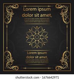 Vintage floral ornament border, Hand drawn decorative element, vector illustration of gold floral frame with black background, design template for page decoration cards, wedding, banner