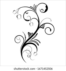 Vintage floral ornament, Hand drawn decorative element, vector illustration of floral element isolated on white background, design for page decoration cards, wedding, banner, frames