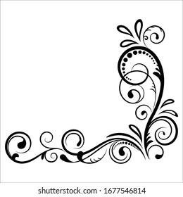 Vintage floral ornament, Hand drawn decorative element, vector illustration of floral element isolated on white background, design for page decoration cards, wedding, banner, frames