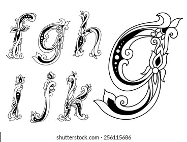 Vintage floral ornamental letters font with lowercase f, g, h, i, j, k in outline sketch style for romantic style invitation or logo design