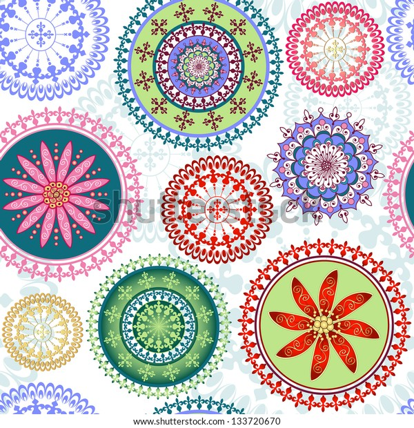 Vintage floral pattern with colorful lacy circles (vector)