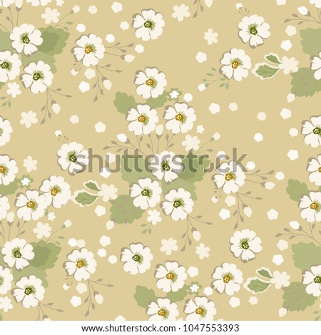 Vintage Floral Pattern Cute Daisy Flowers For Design Background Fabric Paper Wallpaper