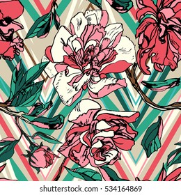 Vintage floral pattern graphic ornament flowers on a geometric chevron zig zag. Hand painting peony colorful blossom background.