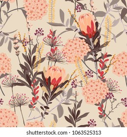 Vintage floral pattern in the many kind of flowers. Tropical botanical  Motifs scattered random. Seamless vector texture.fashion prints. Printing with in hand drawn style on brush pink background.