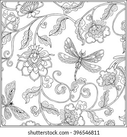Vintage Floral pattern. Outline drawing. Coloring book for adult and older children in vintage style. Coloring page.  Vector illustration.