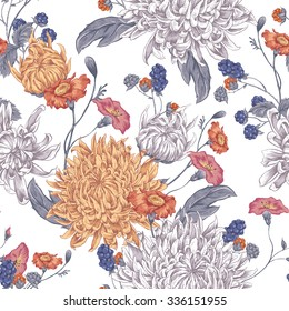 Vintage Floral Seamless Background with Blooming Chrysanthemums. Vector Illustration on a White Background.