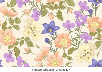 Vintage floral seamless background with blooming roses and garden flowers. Vector pattern. Illustration for use in interior design, artwork, dishes, clothing, packaging, greeting cards, store windows.