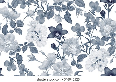 Vintage floral seamless background with blooming roses and garden flowers. Vector pattern. Black and white Illustration for use in interior design, artwork, dishes, clothing, packaging, store windows.