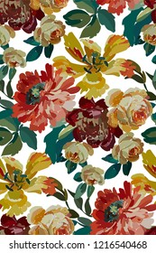 Vintage floral seamless background pattern. Blooming garden flowers. Vector illustration in hand drawn style.