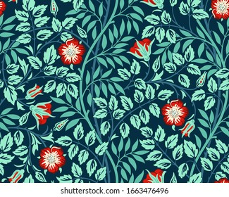 Vintage floral seamless pattern background with red roses and foliage in the dark. Vector illustration.