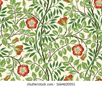 Vintage floral seamless pattern background with red roses and foliage on light background. Vector illustration.