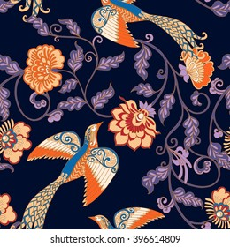 Vintage Floral seamless pattern with birds and butterflies.  Vector illustration.