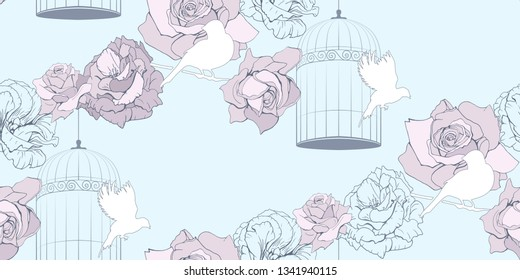 Vintage floral seamless pattern with cage, white birds and pink flowers on blue background. Soft colors. Pastel endless texture for your wedding or kids design, decor, wallpaper, wrapper or fabrics.