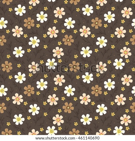 Vintage Floral Seamless Pattern Cosmos Flower Stock Vector Royalty
