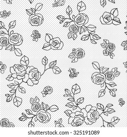 Vintage floral seamless pattern with hand drawn roses and dots background
