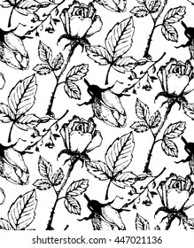 Vintage floral seamless pattern with hand drawn roses. Vector illustration