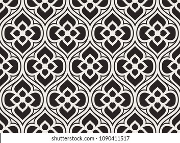 Vintage floral seamless pattern. Intersecting stylized leaves, branches and scrolls forming abstract floral monochrome rapport in Arbesque style. Decorative lattice