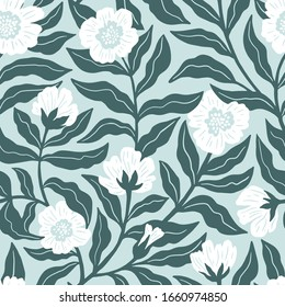Vintage floral seamless pattern in mint green colors. Beautiful delicate seamless fabric design. Vector illustration.