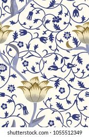 Vintage floral seamless pattern on light background. Vector illustration.