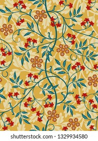 Vintage floral seamless pattern on light background. Bright colors. Vector illustration.