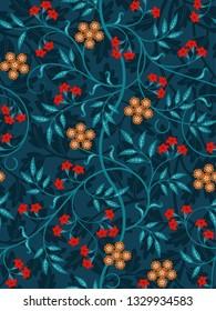 Vintage floral seamless pattern on dark background. Vivid colors. Vector illustration.