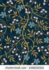 Vintage floral seamless pattern on dark background. Vector illustration.