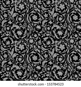 Vintage Floral seamless pattern with stylized wildflowers. In the style of the 19th century. Dark, black with gray
