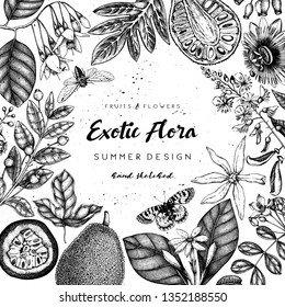 Vintage floral template. Ink hand drawn elements. Exotic fruits and flowers design. Vector illustration with highly detailed perfumery and cosmetics ingredients.  Outlines in engraved style.