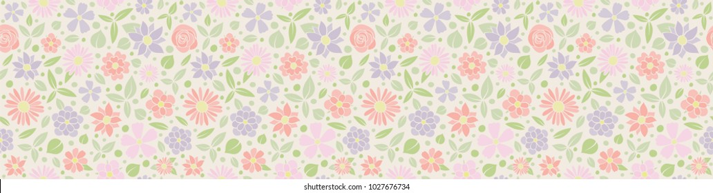 Tytu?: Vintage floral texture. Seamless pattern with hand drawn flowers. Mother's Day, Woman's Day and Valentine's Day. Vector.