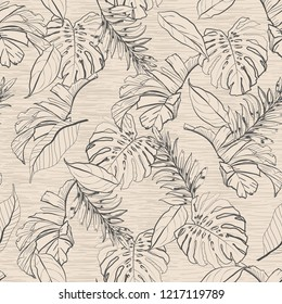Vintage Floral and tropical leaves seamless pattern,palm trees in hand drawn line sketch on texture lght beige background color