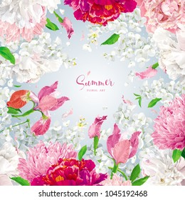 Vintage floral vector background with Chrysanthemums, Irises, Hydrangeas, Peonies, Apple blossom, garden flowers. Botanical drawing in watercolor style for invitation cards, wedding, banners, sales